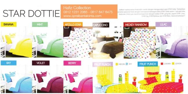 Sprei-Dottie,Grosir Bedcover di Bogor, -Banan,-Violet,-Apollo,-Sky,-MintMickey-Rainbow,-Lilac-Fruit-Punch