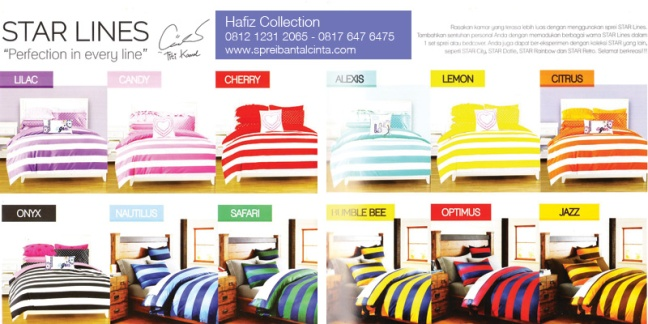 Bed Cover Garis- Sprei-Star-Lines-Titi-Kamal,-Bedcover-Star-Line